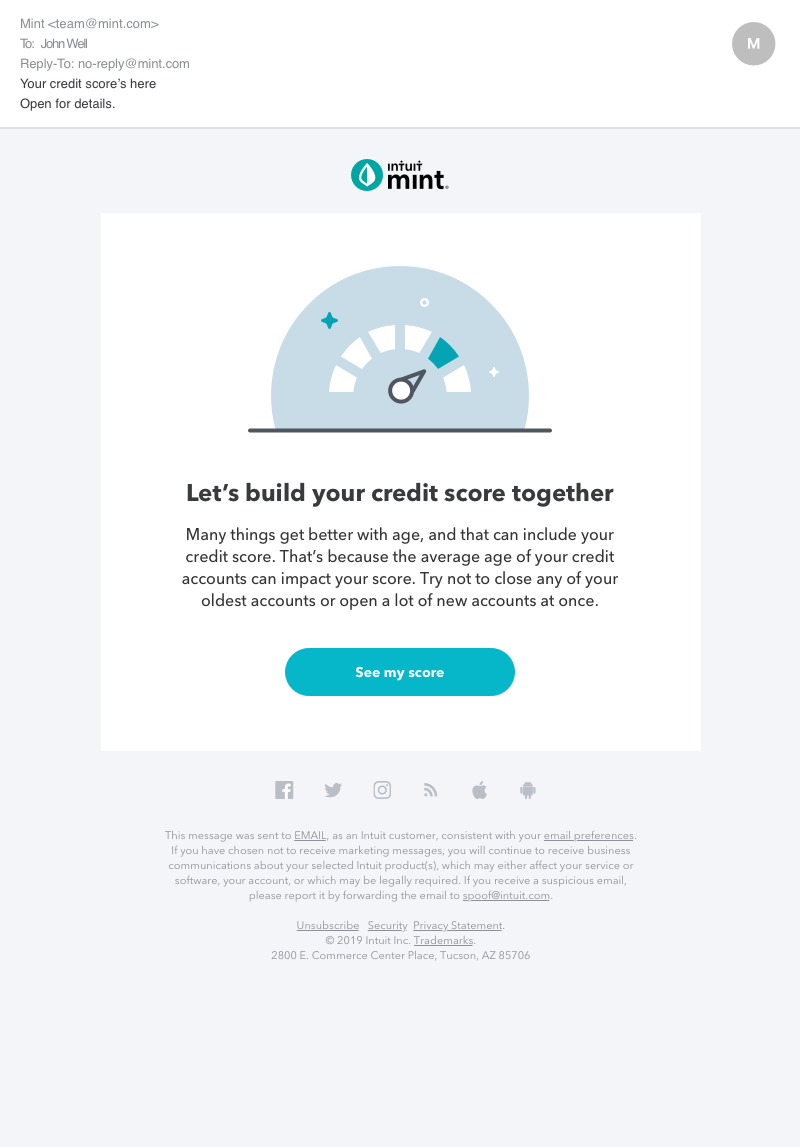 Credit Score Email July 2019