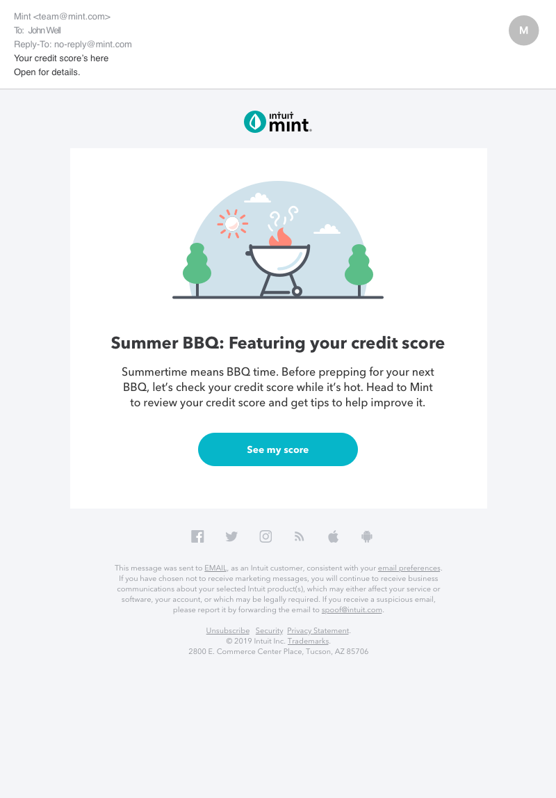 Credit Score Email - July 2019